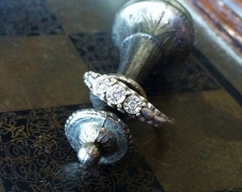 70% OFF MOVING SALE Vintage Sterling and Natural Mine Diamonds~Past Present Future Ring~Stunning