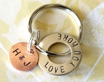 LOVE YOU MORE Hand Stamped Hardware Washer and Copper Disc Key Chain