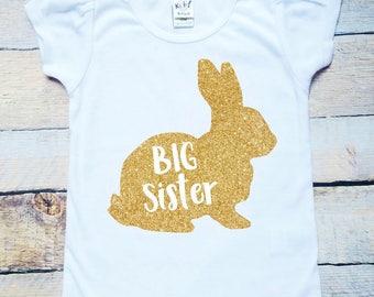 Big Sister bunny gold glitter white tee