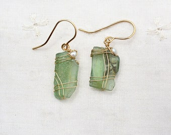 Roman Glass Earrings+ Pearls. Gold Filled Earrings. Green Roman Glass Earrings. Roman Glass Jewelry. Gold Filed Jewelry Free Shipping Israel