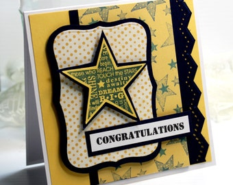 "Congratulations Card - Handmade Card Greeting Card 5.25 x 5.25""Stampin Up Best Wishes Star Stationery 3D Card OOAK"
