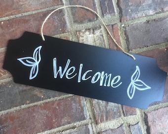 Welcome Front Door Sign - Hand Written - Door Hanger