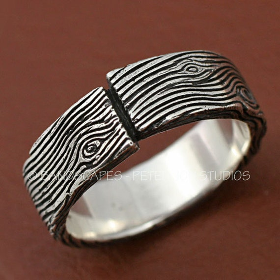PLANK RING -A Woodworkers Band in Sterling Silver, showing nice depth of woodgrain.