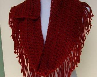 Crochet Scarf, Crochet Fringed Scarf, Handmade Crochet Scarf,  Autumn Red Scarf, Fringe Along the Bottom, Crochet Neck Warmer, Neck Dress..