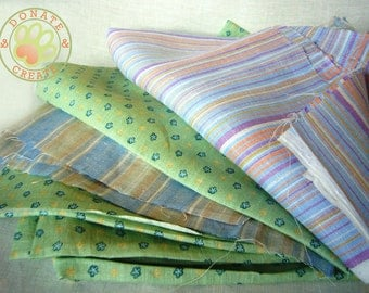 Linen fabric assorted remnants sale! Pure European linen out cuts, scraps for DIY crafts; Pastel striped baby linen mix;