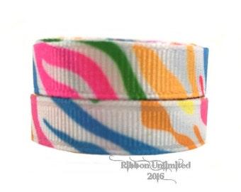 5 yds  3/8 Inch NEON Zebra Print grosgrain ribbon LOW Shipping Cost
