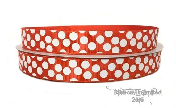 10 Yds WHOLESALE 7/8 Inch Orange-White Sugar Dots grosgrin ribbon LOW SHIPPING Cost