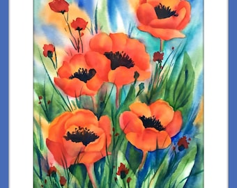 Red Poppies Watercolor, Poppy Art, Painting Red Poppies, Red and Green, Poppy Decor, Kitchen Art, Garden Decor, Red and Black,Art With Heart