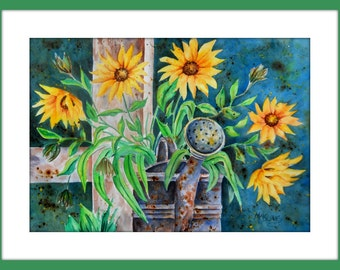 Watercolor Sunflowers, Watering Can, Rusty Metal, Old Fence, Wood, Yellow and Blue, Coffee, Country Watercolor, Country Charm, Country Art