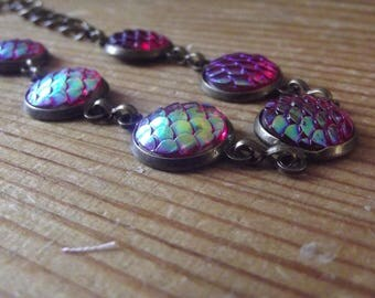 Pink Iridescent Dragon Mermaid Fish Scale Bronze Braclet