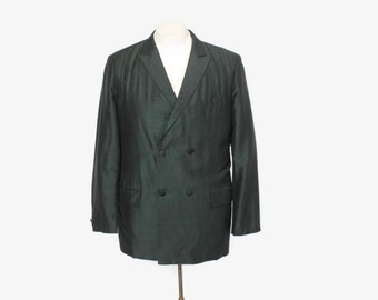 Vintage 60s SHARKSKIN Blazer / 1960s Men's Dark Green & Black Pinstripe Double Breasted Jacket M 38