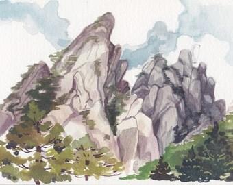 Lotus Peak- mini landscape painting