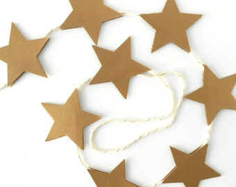 Star Garland, 3 - 6 ft. - Gold, Shimmery, New Years, 2017, Glimmery, Party, Home Decor, Cute, Simple, Baker's Twine, Small, Wedding, Hang