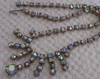Vintage necklace, 1950s retro necklace, estate necklace, faceted aurora borealis crystal necklace, choker necklace