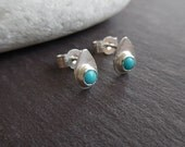 Small Teardrop Sterling silver  Stud Earrings, Turquoise  Cabochon, Handmade