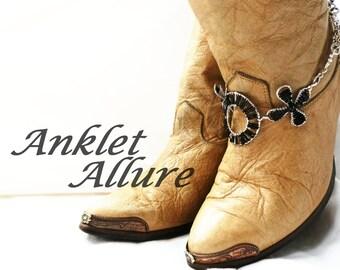 SINGLE BoHo Boot Chains Beaded Boot Jewelry Biker Boot Bracelets Black Foot Jewelry