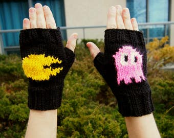 "Pacman Fingerless Gloves Hand Knit Retro Nintendo Pacman Arcade Gloves w ""Pinky"" the Pink Ghost - Black Pacman Cosplay Gloves w Pink Ghost"