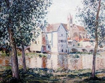 SISLEY Reproduction Oil Painting The Loing At Moret September Morning Hand Painted Facsimile Framed Vintage Impressionist Landscape Fine Art