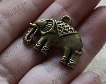 12 pcs of Elephant Charm Connectors Antique bronze Tone,Elephant Charm pendant beads findings
