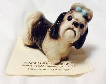 Vintage Hagen Renaker Shih Tzu Dog Figurine 1960s Miniature