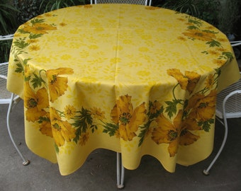 X-Large Vintage CALIFORNIA POPPIES TABLECLOTH Wildflowers Gold 52x70