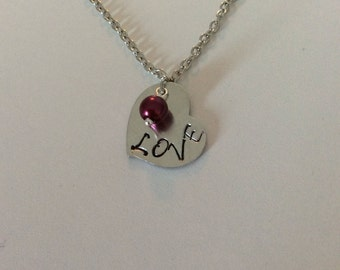 "Hand Stamped Heart ""LOVE"" Necklace"