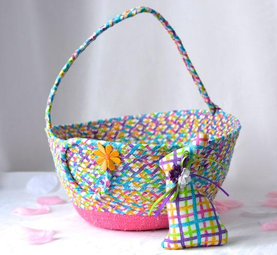 Girl Easter Basket SALE... and 1 Cute Matching Easter Bunny, Handmade Easter Basket, Spring Basket, Pink Easter Bucket, Flower Girl Basket