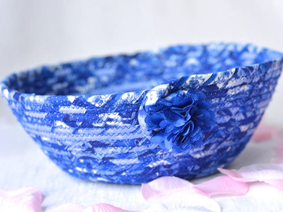Indigo Key Holder, Handmade Blue Bowl, Lovely Blue Cotton Fiber Bowl, Makeup Organizer, Ocean Blue Home Decor