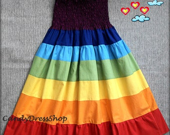 Girls Rainbow dress, Rainbow Twirl Dress, Maxi dress for girls, Rainbow party dress, (Available in sizes 2T to 9 years) From CandydressShop