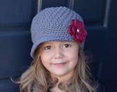 Hat for Girls, Little Girl Beanie, Kids Hats, Girl Crochet Hat, Crochet Hats Girl, Little Girl Hat, Girls Hats, Grey Hat, Grey and Burgundy