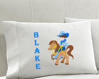 Personalized Kids Pillowcase COWBOY Pillowcase  Boys Pillowcase Boys Bedding