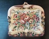Vintage 1980's ladies large floral tapestry purse