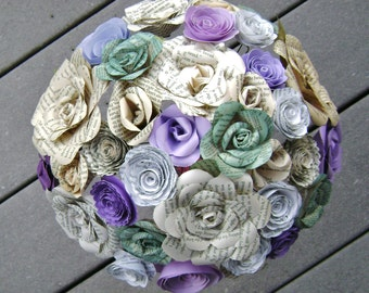 vintage book page teal and purple bridal bouquet alternative centerpiece recycled spring