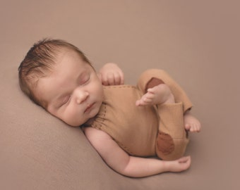 Newborn Photography Overall Set- Light Brown, Dark Brown Patches