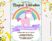 Cute Unicorn Birthday Party Invitation, First Birthday Magical Party Unicorn Rainbows Birthday Party Printable Invitation