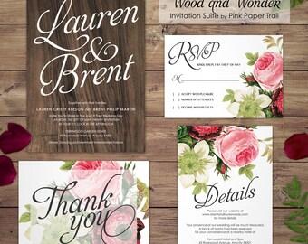 Wood and Floral Rustic Wedding Invitation, Garden Wedding, Rustic, Spring or Summer Wedding, DIY Wedding, Print Your Own