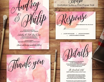 Watercolor Wedding Invitation, Blush Wedding Invitation, Printable Wedding Invitation, DIY, Print Your Own
