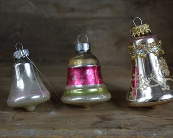 Vintage Christmas Ornaments 1950s 1960s 3 Hand Blown Glass Bell Shape with Glitter and Trim Red Stripes Tree Decorations