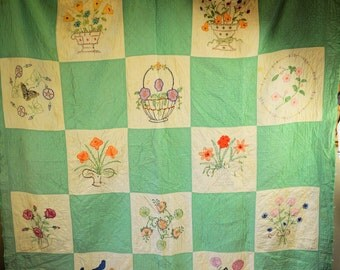 Vintage Quilt Green and White Blocks with Embroidered Flowers Baskets Butterflies Large 74 X 82