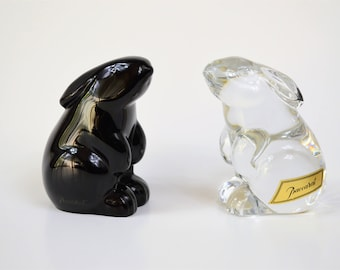 Baccarat Crystal Rabbit 2 Crystal Bunnies Noir Black and Clear Standing Rabbit Paperweight Signed Retired