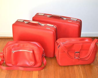 Mid Century American Tourister Red Luggage Set