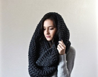 End of season SALE Extra Large Blanket Scarf. Huge Chunky Infinity Scarf. Oversized Shawl Hood // The Vienne - CHARCOAL