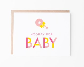 Hooray for Baby | New Baby | New Mom | Mom to Be + Pregnancy Greeting Card | A2 Size