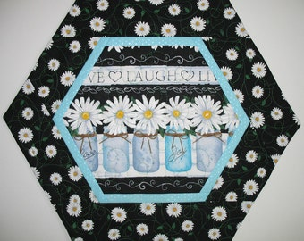 Daisy Table Topper, with Canning Jars made with Timeless Treasures Fabric