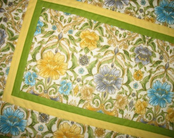 Spring Table Runner, Floral, Easter, quilted table runner, Summer, table linens, fabric from Robert Kaufman