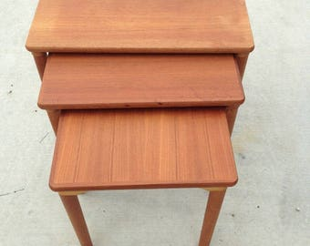 Mid-Century Wood Nesting Side Tables