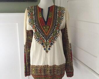 Vintage 70s Floral Boho Dashiki CAFTAN Ethnic HIPPY MiNi Dress INDIA Oaxacan Tunic Top