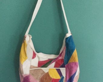 Vintage 1970s 1980s Rainbow Patch Patchwork Leather HoBo Slouch Sling Shoulder Bag Purse