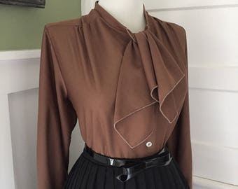 Vintage Sexy 1950s 1960s Cafe Latte Brown Button Down Long Sleeve Ruffle Blouse