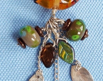 Handmade Lampwork Glass Bead And Silver Pendant